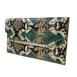 THE LIMITED Faux Reptile Snakeskin Envelope Clutch